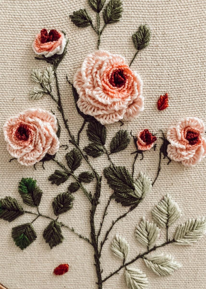 Broderie trandafiri
